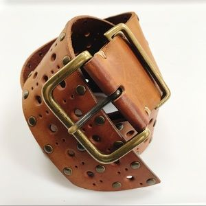 Genuine Leather Brown Studded Leather Belt